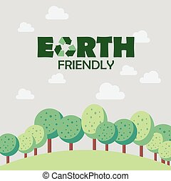 Earth friendly concept Postcard vector illustration