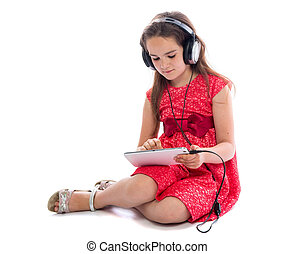 little girl with a Tablet PC. background