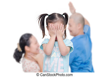 Little girl crying while parents fighting - Little asian...