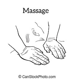 Therapeutic manual massage. Medical therapy - hands to body...