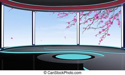 News TV Studio Set -191 - News TV Studio Set 191- Virtual...