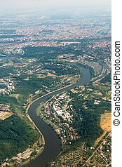 View from the airplane on the city of Prague and river...
