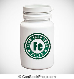 Bottle of pills with iron Fe on white background