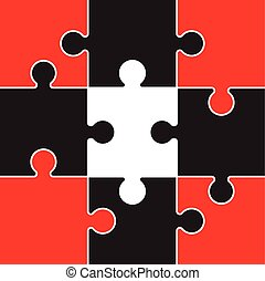 red and black jigsaw