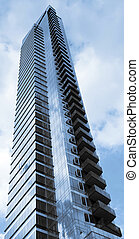 modern glass high rise sky scrapper two tone