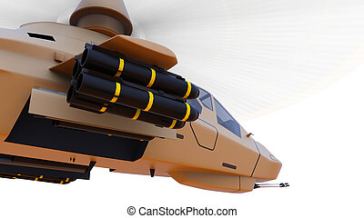 Modern army helicopter in flight with a full complement of weapons on a white background. 3d illustration.