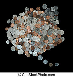 Think bubble made up of coins - A whole bunch of American...
