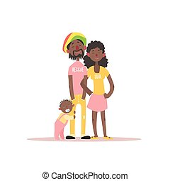 Parents And A Baby Rastafarian Family Simple Childish Flat...