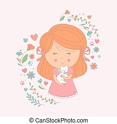 Girl Holding A Small White Dog Surrounded By Hearts And...