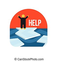 Man On Ice Floe Crying For Help Flat Vector Simplified Style...