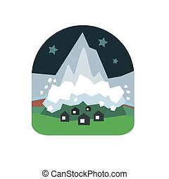 Avalanche Falling Down On Village Natural Force Sticker -...