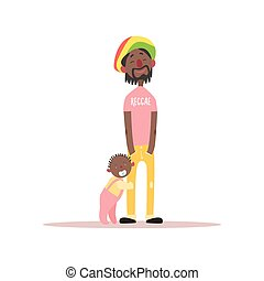 Jamaican Father And Baby Simple Childish Flat Colorful...