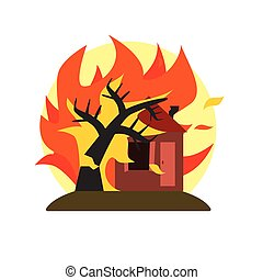 Burning Tree Falling On House Natural Force Sticker -...