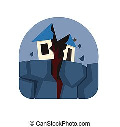Earthquake Crack Destroying A House Natural Force Sticker -...
