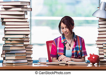 Concept of expensive textbooks with female student