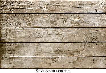 Weathered wooden plank sepia - Vintage background from a...