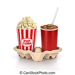Popcorn in box with cola in takeaway cup isolated on white...