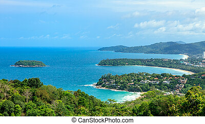 Tropical beach landscape - Beautiful turquoise ocean and...
