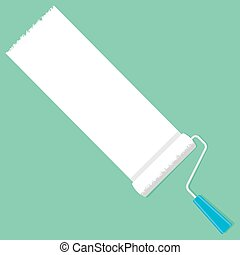 Paint Roller on a Green Background
