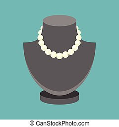Vector pearl necklace, flat design