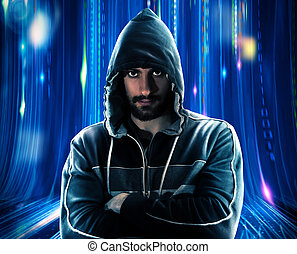 Hacker man - Mysterious man with hoodie and blue lights...