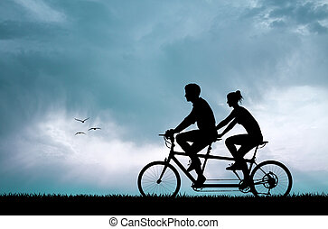 couple silhouette in tandem - illustration of couple...