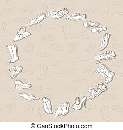 Hand drawing various types of different footwear in vector.