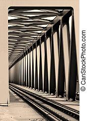 Railway bridge - Railway metal bridge perspective view -...
