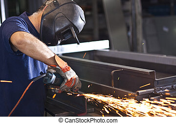 grinding sparks - sparks during working with steel in the...