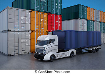 White truck in container port. 3D rendering image.