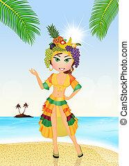 Brazilian girl on the island - illustration of Brazilian...