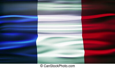 Flag of France. French official flag gently waving in the...