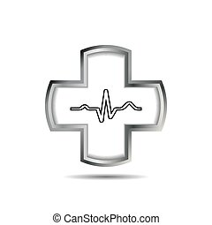 Cross with heart and ekg line.