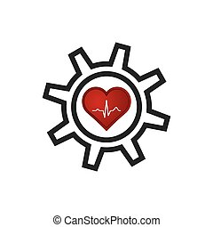 Heart with ekg and gear icon.