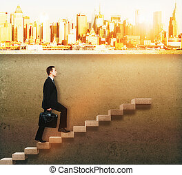 businessman climbing concrete ladder - Success concept with...