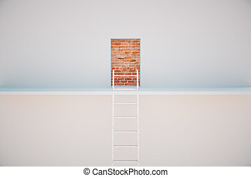 Escape ladder to prison exit. Freedom concept. 3D Rendering