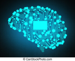 circuit board in form of brain - circuit board in form of...