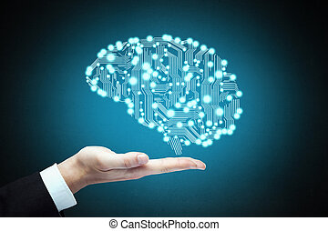 hand holding circuit board in form of human brain isolated...