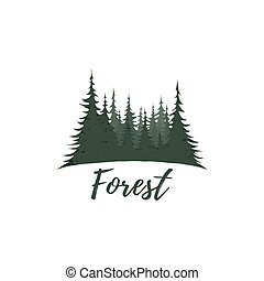Forest logo isolated on white background. Vector...