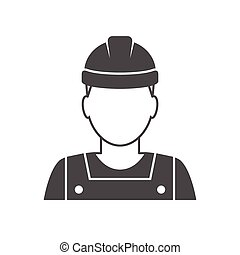 Worker avatar icon. Industrial worker person illustration