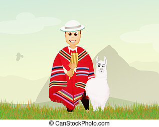 Peruvian man and alpaca - illustration of Peruvian man and...