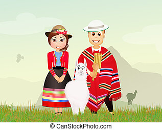 Peruvian couple and lamas - illustration of Peruvian couple...