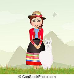 Peruvian woman - illustration of Peruvian woman
