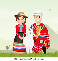 cute Peruvian couple - illustration of cute Peruvian couple