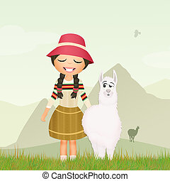 Peruvian girl with alpaca - illustration of Peruvian girl...