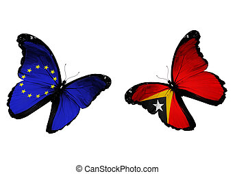 Concept - two butterflies with EU and East Timor flags...