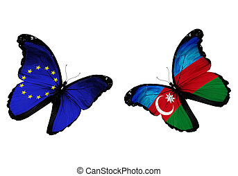 Concept - two butterflies with EU and Azerbaijan flags...