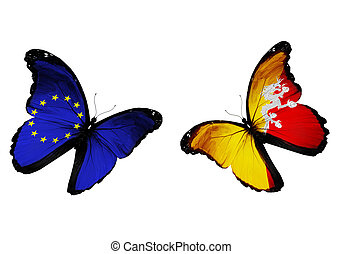 Concept - two butterflies with EU and Bhutan flags flying