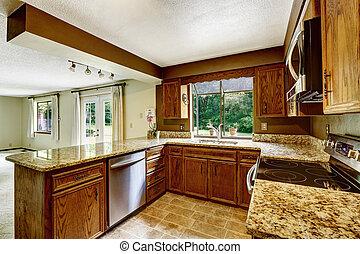 cocina, interior, con, de madera, gabinetes, y, granito,...