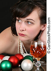 Lonely Christmas - Beautiful brunette female longing for...
